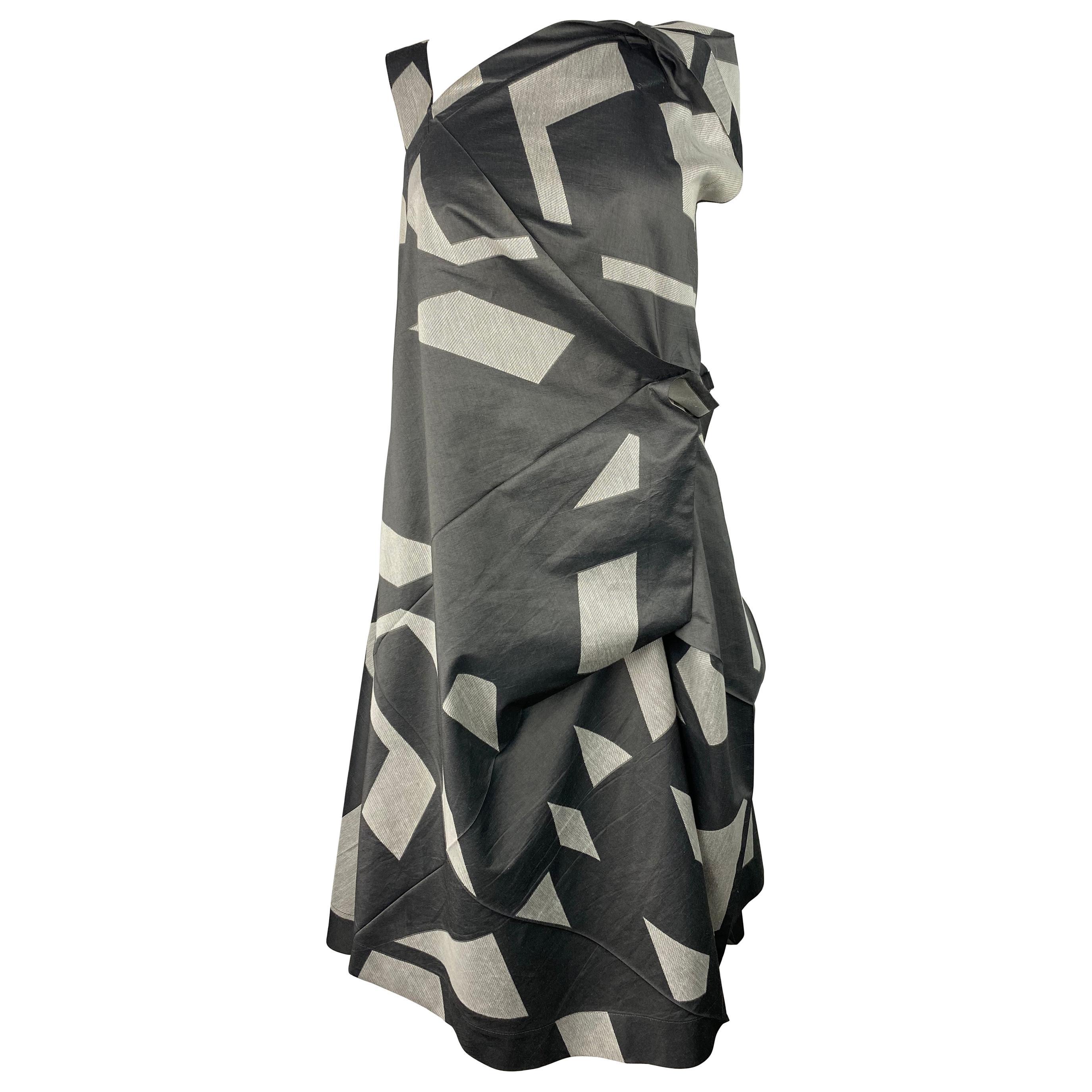 Issey Miyake Grey Cotton Sleeveless Asymmetrical Midi Dress, Size 3