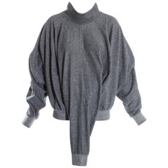 Issey Miyake grey three-armed knitted wool sweater, fw 1985