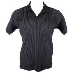 ISSEY MIYAKE Homme Plisse Size XL Navy Pleated Polyester Polo
