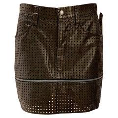 Issey Miyake Leather Mesh Zip Skirt