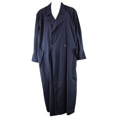Issey Miyake Men Vintage Dark Navy Blue Maxi Trench Wind Coat,  1980s