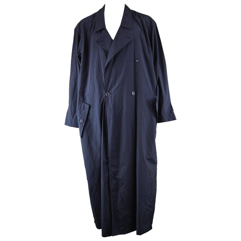 Issey Miyake Men Vintage 1980s Dark Navy Blue Maxi Trench Wind Coat
