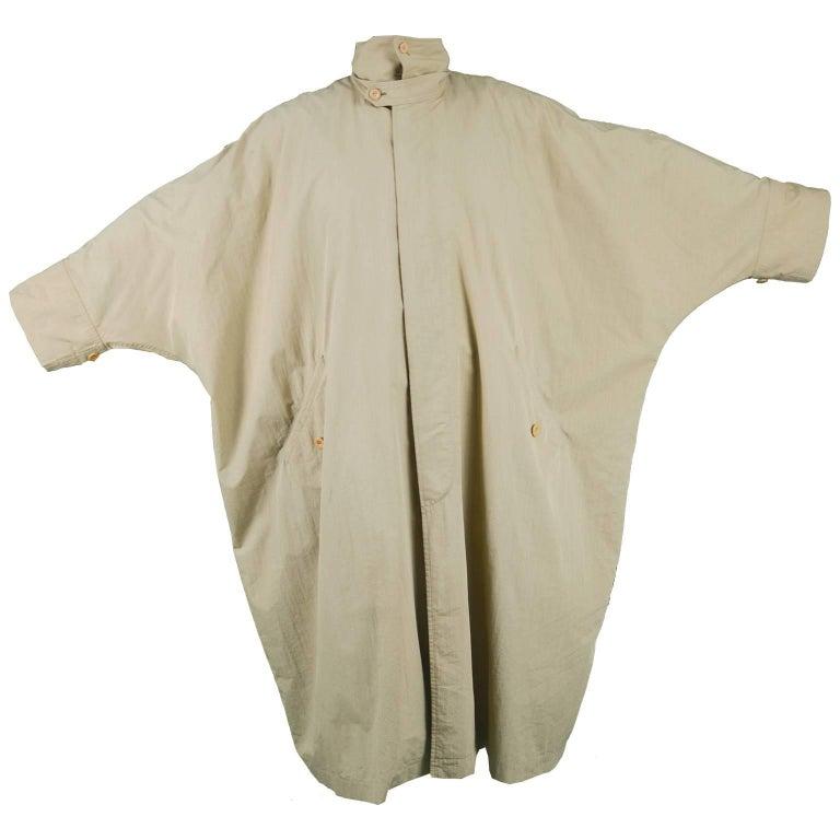 Issey Miyake Men's Rare Vintage Oversized Khaki Lightweight Windcoat, 1980s
