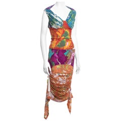 Issey Miyake multicoloured mesh and lycra skirt and top set, ss 2002