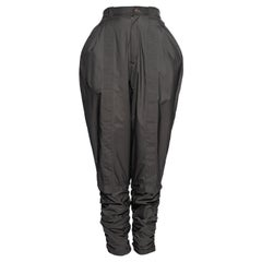 Issey Miyake olive nylon high-waisted parachute pants, fw 1982