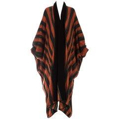 Issey Miyake orange acetate knit batwing robe, ca. 1976