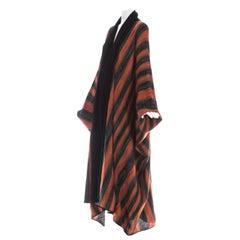 Issey Miyake orange acetate knit batwing robe, fw 1976