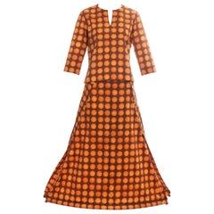 Issey Miyake orange polkadot printed cotton skirt suit, ss 2001