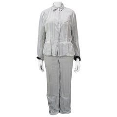 Issey Miyake Pleated Two Layer White with Black Contrast Pant Suit