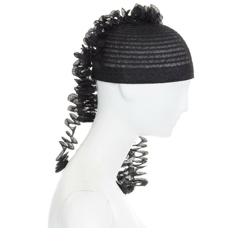Black ISSEY MIYAKE PLEATS PLEASE black draped spiral strips raffia straw hat