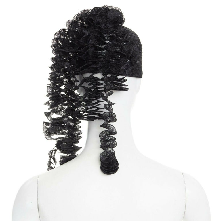 ISSEY MIYAKE PLEATS PLEASE black draped spiral strips raffia straw hat In Excellent Condition In Hong Kong, NT