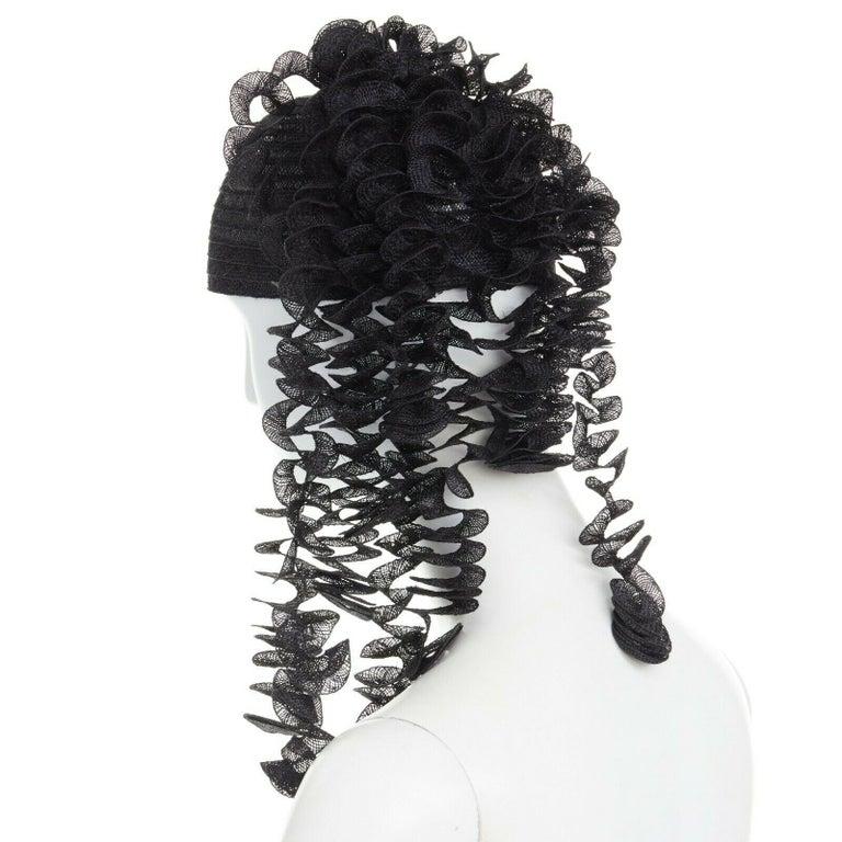 Women's ISSEY MIYAKE PLEATS PLEASE black draped spiral strips raffia straw hat