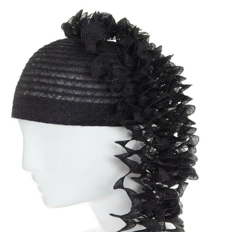 ISSEY MIYAKE PLEATS PLEASE black draped spiral strips raffia straw hat 1