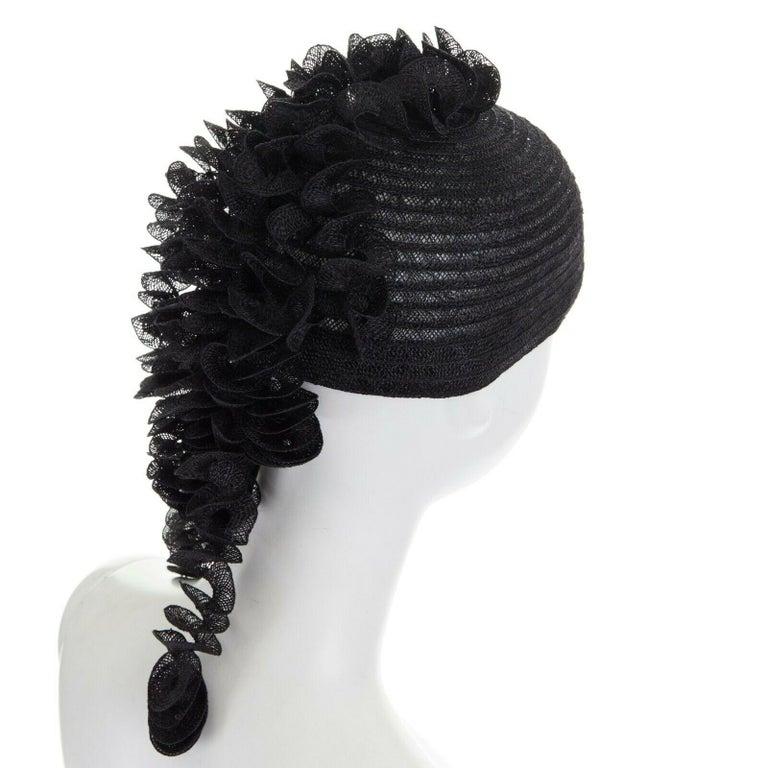ISSEY MIYAKE PLEATS PLEASE black draped spiral strips raffia straw hat 2