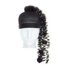 ISSEY MIYAKE PLEATS PLEASE black draped spiral strips raffia straw hat