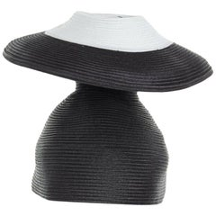 ISSEY MIYAKE PLEATS PLEASE black white architectural dual layer raffia straw hat