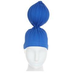 ISSEY MIYAKE PLEATS PLEASE blue pleated single sphere ball bubble statement hat