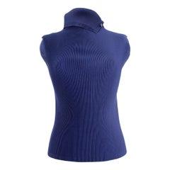 Issey Miyake Pleats Please Dark Blue Pleated Underjacket Shirt 1990s