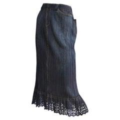 Issey Miyake Pleats Please Denim Printed Skirt