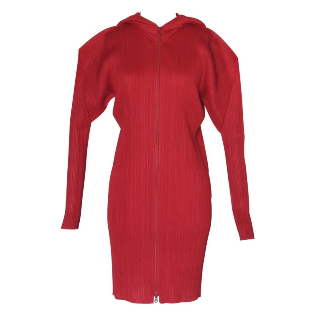 Issey Miyake Pleats Please Magenta Hooded Coat
