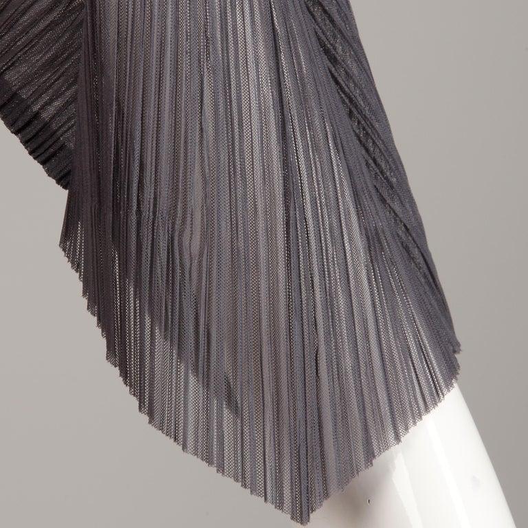 Issey Miyake Pleats Please Pleated Purple Gray Op Art Mirror Print Top or Shirt For Sale 6