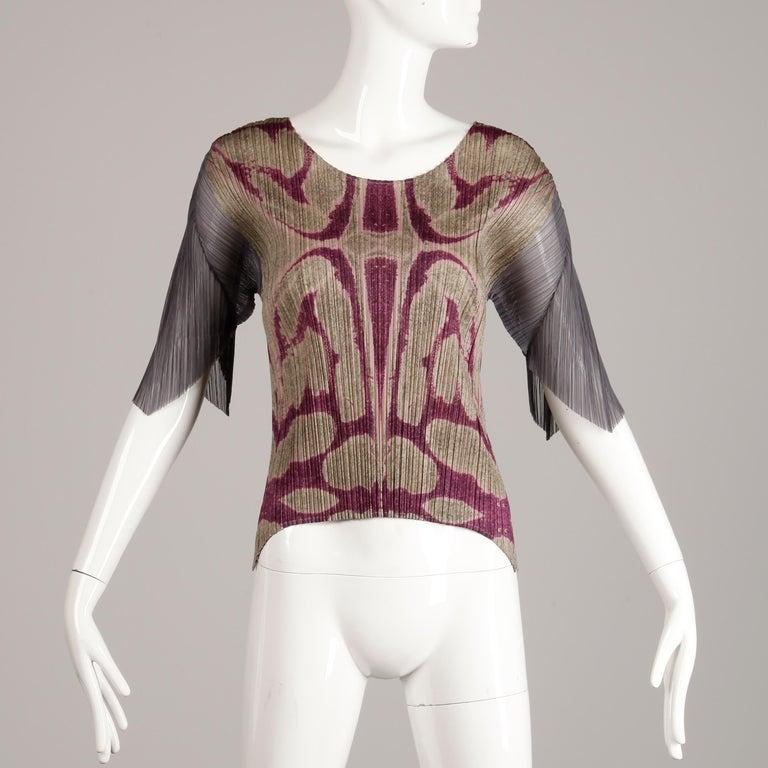 Issey Miyake Pleats Please Pleated Purple Gray Op Art Mirror Print Top or Shirt For Sale 3