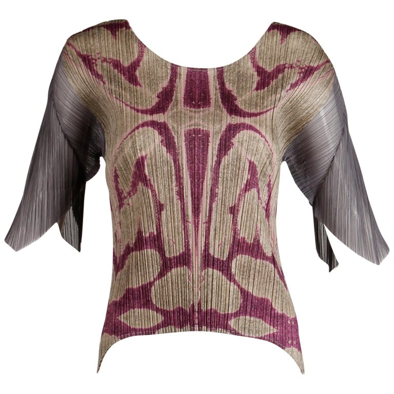 Issey Miyake Pleats Please Pleated Purple Gray Op Art Mirror Print Top or Shirt For Sale