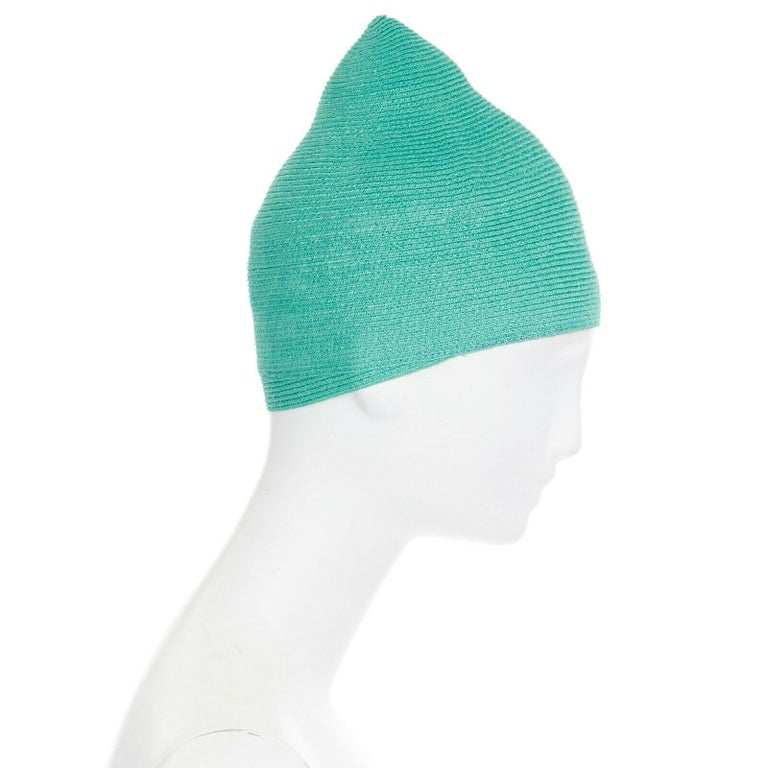 Green ISSEY MIYAKE PLEATS PLEASE teal green raffia straw woven pointed moroccan hat For Sale