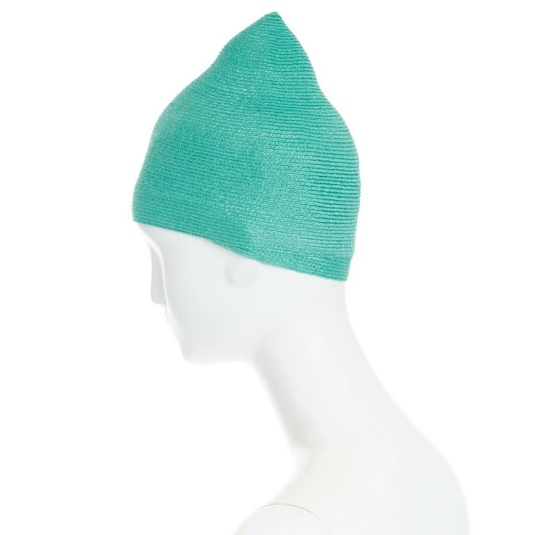 Women's ISSEY MIYAKE PLEATS PLEASE teal green raffia straw woven pointed moroccan hat For Sale