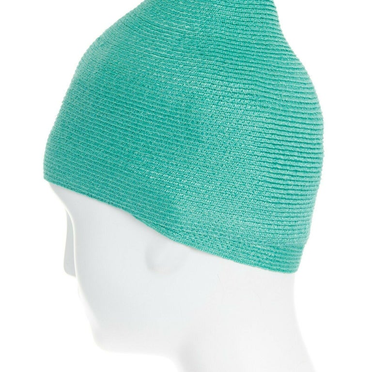 ISSEY MIYAKE PLEATS PLEASE teal green raffia straw woven pointed moroccan hat For Sale 1