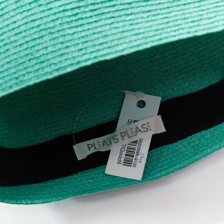 ISSEY MIYAKE PLEATS PLEASE teal green raffia straw woven pointed moroccan hat For Sale 4