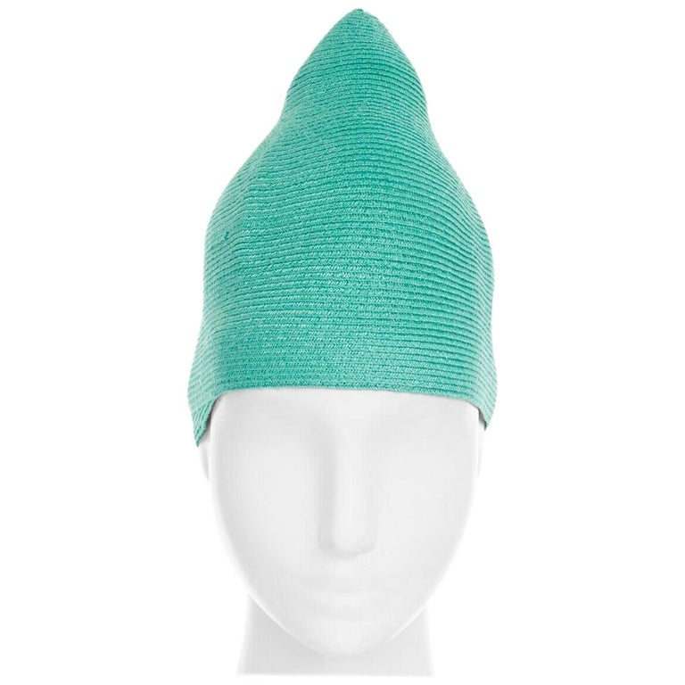 ISSEY MIYAKE PLEATS PLEASE teal green raffia straw woven pointed moroccan hat For Sale