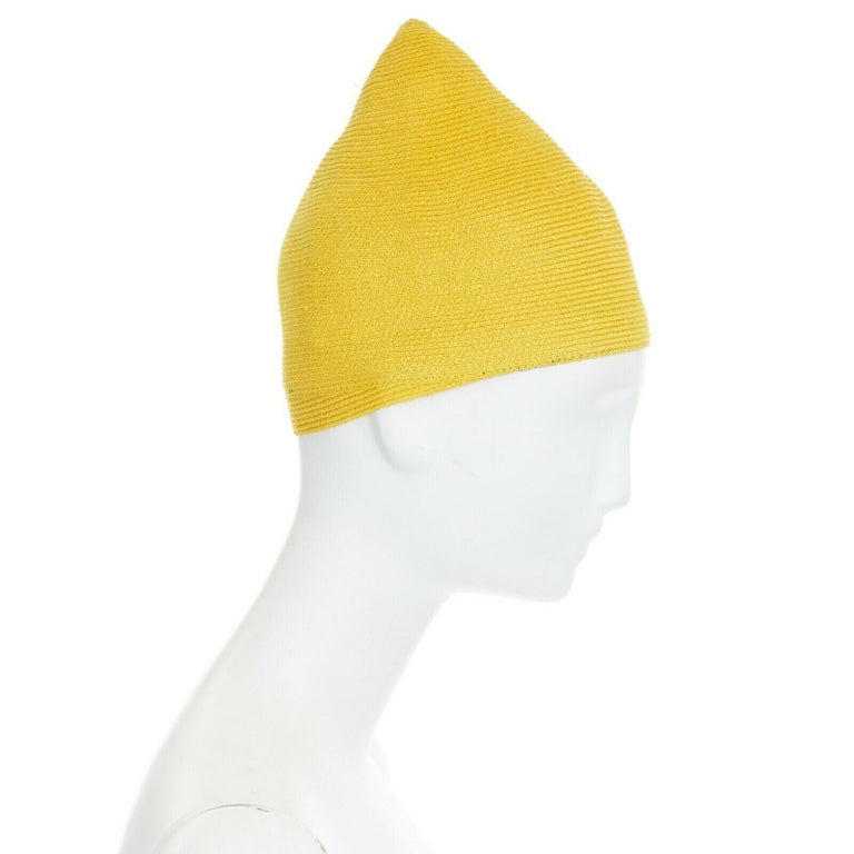 Gray ISSEY MIYAKE PLEATS PLEASE yellow raffia straw woven pointed moroccan hat For Sale