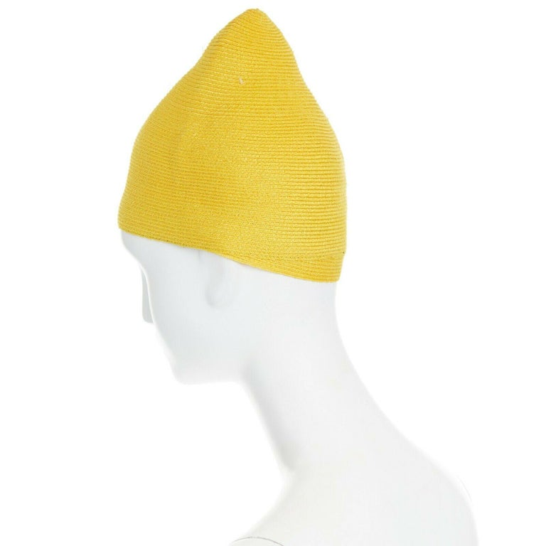 Women's ISSEY MIYAKE PLEATS PLEASE yellow raffia straw woven pointed moroccan hat For Sale