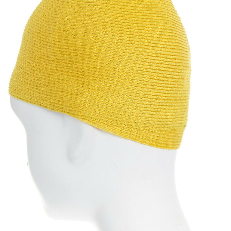 ISSEY MIYAKE PLEATS PLEASE yellow raffia straw woven pointed moroccan hat For Sale 1
