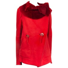 ISSEY MIYAKE red SHEARLING DOUBLE BREASTED Coat Jacket 2 S