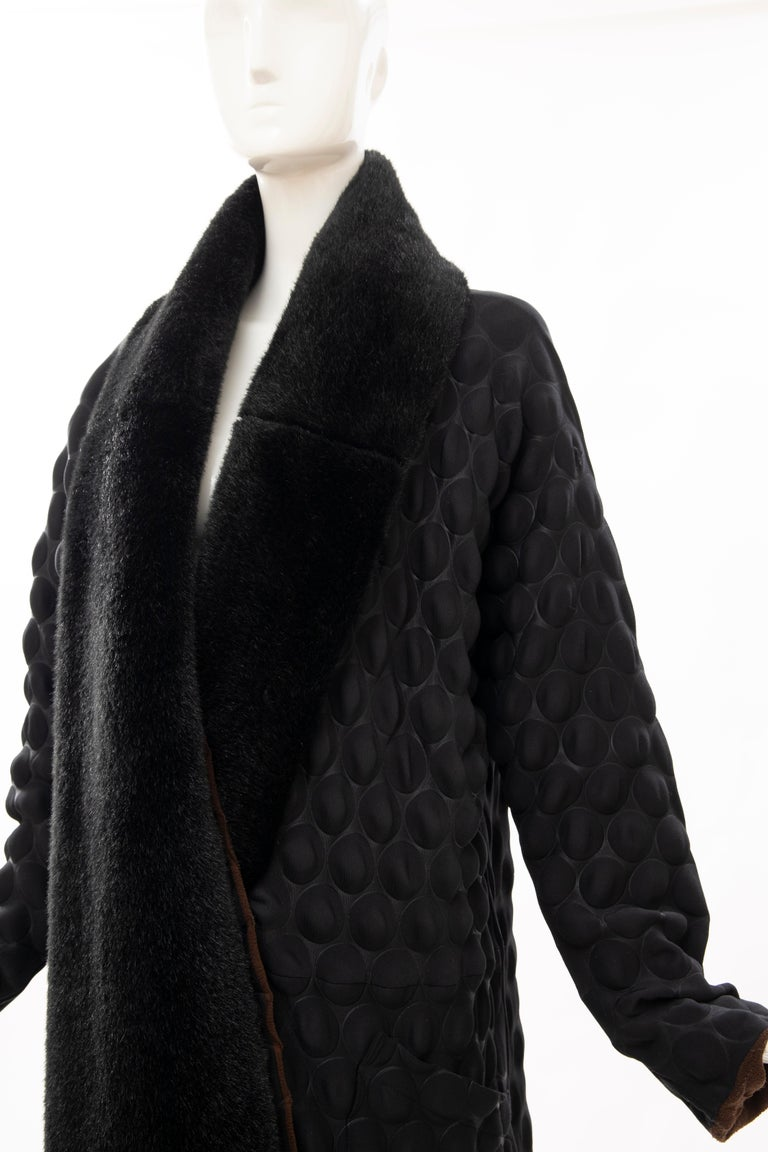 Issey Miyake Runway Black Egg Carton Coat Detachable Faux Fur Collar, Fall 2000 For Sale 7