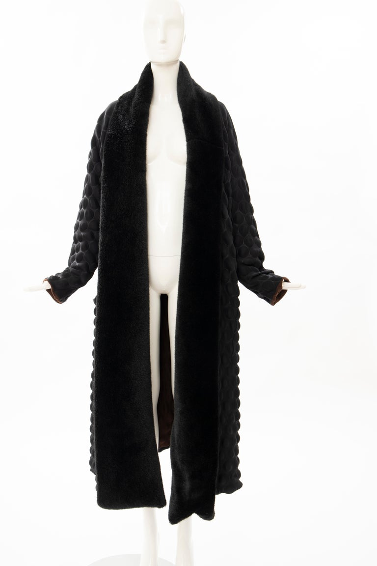 Issey Miyake Runway Black Egg Carton Coat Detachable Faux Fur Collar, Fall 2000 For Sale 8