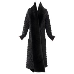 Issey Miyake Runway Black Egg Carton Coat Detachable Faux Fur Collar, Fall 2000