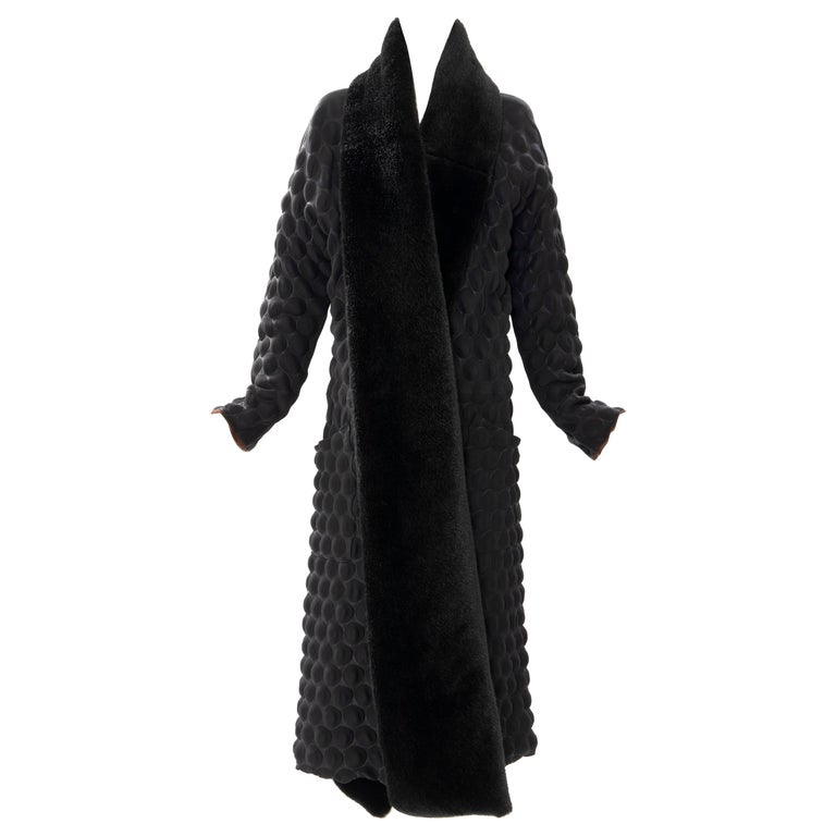 Issey Miyake Runway Black Egg Carton Coat Detachable Faux Fur Collar, Fall 2000 For Sale