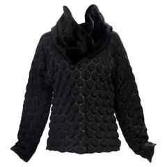 Issey Miyake Runway Black Egg Carton Jacket Detachable Faux Fur Collar,Fall 2000