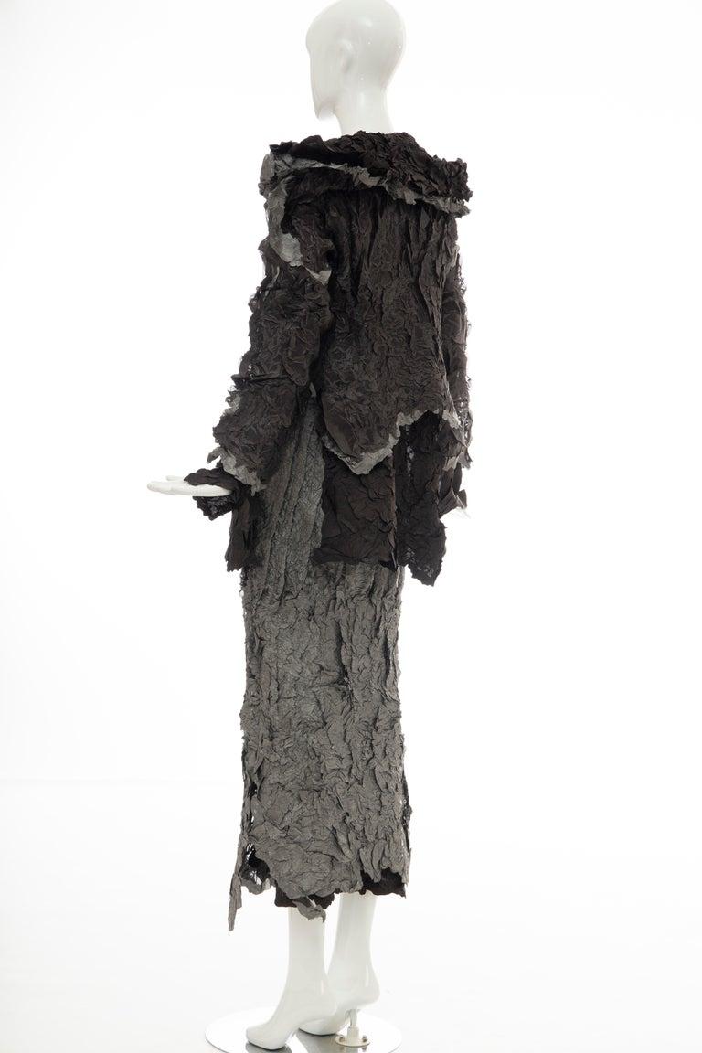 Issey Miyake Runway Chocolate Brown & Gunmetal Silver Skirt Suit, Fall 1999 For Sale 5