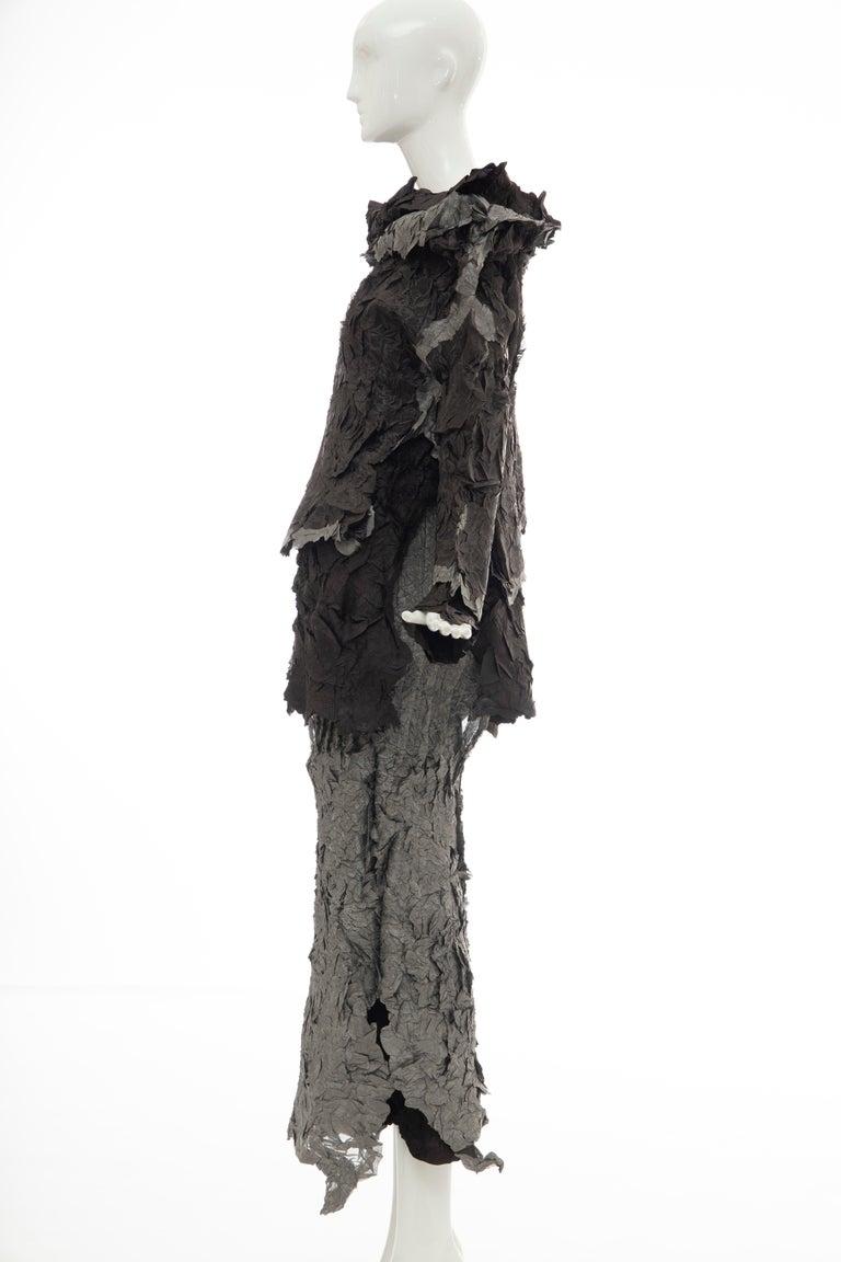 Issey Miyake Runway Chocolate Brown & Gunmetal Silver Skirt Suit, Fall 1999 For Sale 6