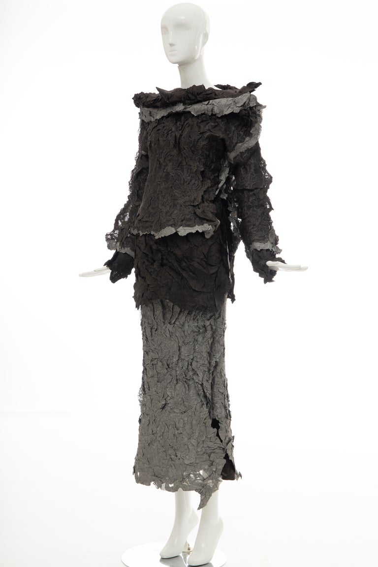 Issey Miyake Runway Chocolate Brown & Gunmetal Silver Skirt Suit, Fall 1999 For Sale 7