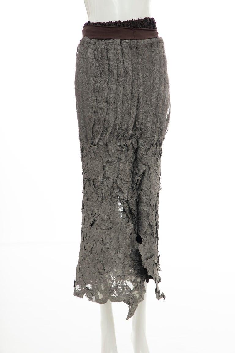 Issey Miyake Runway Chocolate Brown & Gunmetal Silver Skirt Suit, Fall 1999 For Sale 8
