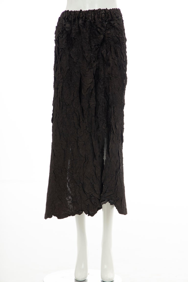 Issey Miyake Runway Chocolate Brown & Gunmetal Silver Skirt Suit, Fall 1999 For Sale 9