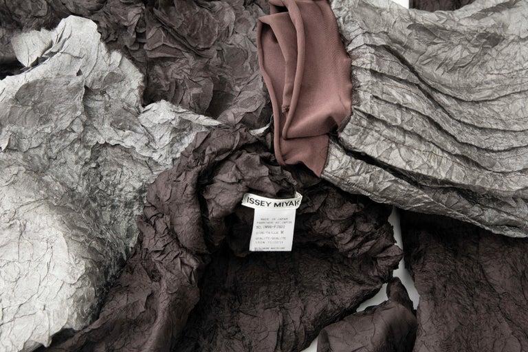 Issey Miyake Runway Chocolate Brown & Gunmetal Silver Skirt Suit, Fall 1999 For Sale 10