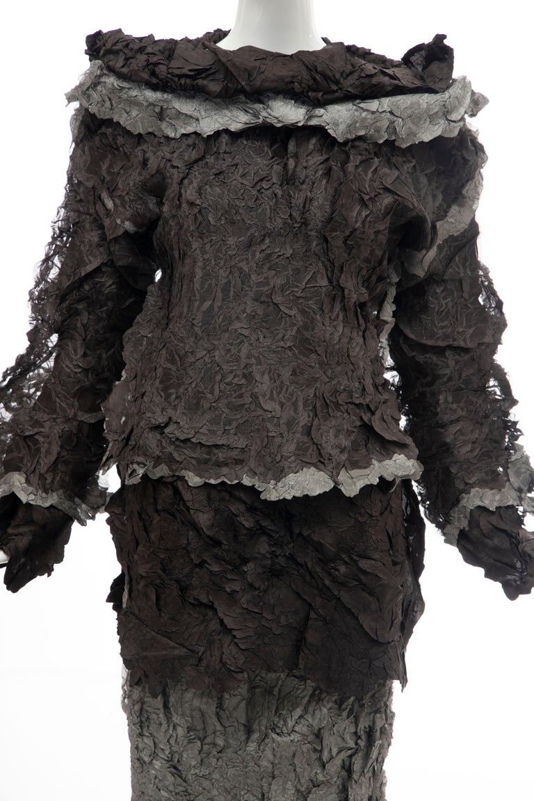 Black Issey Miyake Runway Chocolate Brown & Gunmetal Silver Skirt Suit, Fall 1999 For Sale