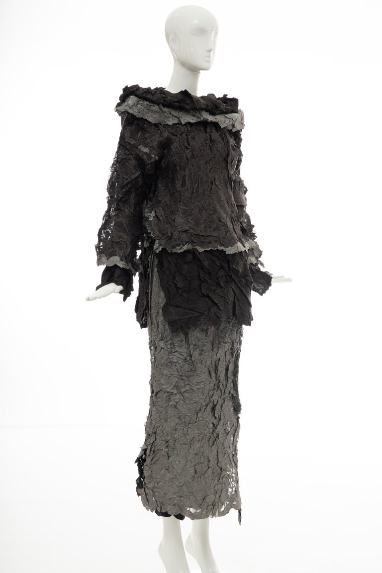 Issey Miyake Runway Chocolate Brown & Gunmetal Silver Skirt Suit, Fall 1999 In Good Condition For Sale In Cincinnati, OH