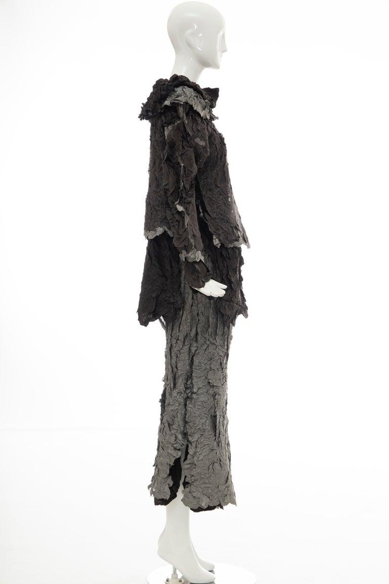 Women's Issey Miyake Runway Chocolate Brown & Gunmetal Silver Skirt Suit, Fall 1999 For Sale